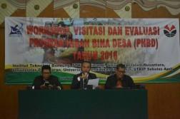 Pihak Belmawa Ristek Dikti sedang memberikan sambutan dari pemaparan teknis Monev (isolapos.com/ Nurul A.)