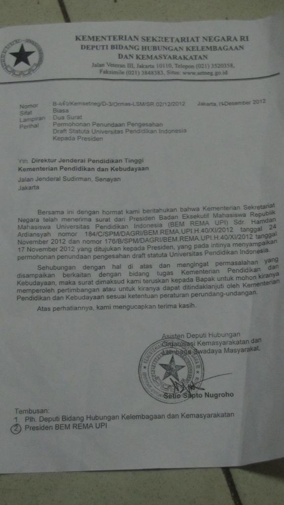 Bem Rema Dapatkan Surat Balasan Terkait Statuta Isolaposcom
